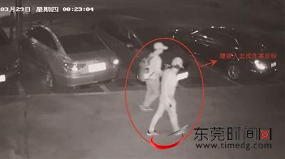 盗窃高档小汽车后视镜的犯罪嫌疑人正在寻找作案目标 警方供图