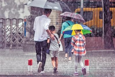 昨日,广州海珠区南华中路,市民正在冒着大雨过马路。广报全媒体记者莫伟浓 实习生林泽君摄