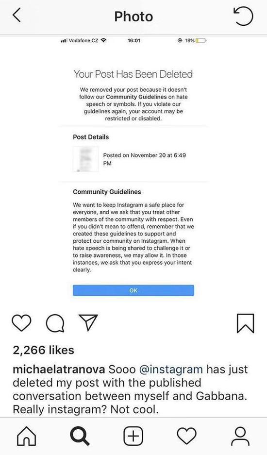 爆料网友michaelatranova表示自己的帖子遭instagram删除图片