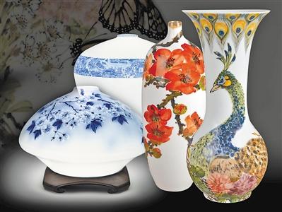 素雅的景德镇薄胎瓷与锦绣的关兰釉下瓷彩作品