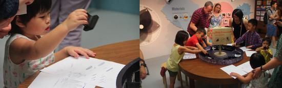 儿童在参与印刷互动体验