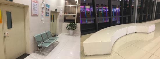 广百百货中怡店休息区给人一种在医院的感觉,保利中环广场连廊的休息区也略显破旧。