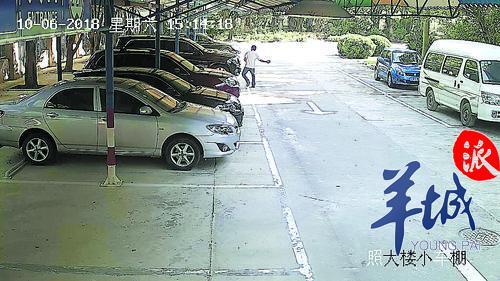 监控拍到该男子砸车