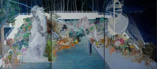 《乐园》廖清峰 200x450cm 布面油画 2020  广州美术学院