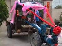中山小伙用拖拉机迎亲豪车跟车尾 交警:属违法(图)