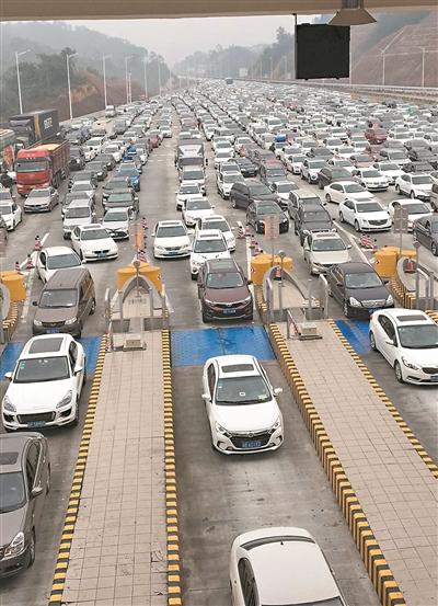 高速上排起了车龙。图/广州日报全媒体记者卜瑜摄
