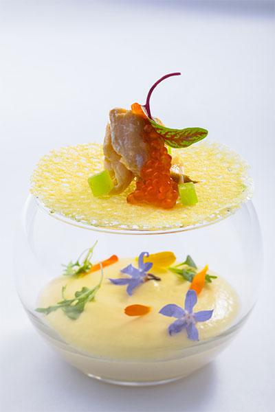 意轩新菜单---烟熏和柑橘油半熟红鳟鱼