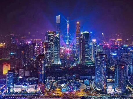 """广州""""财富之夜""""中轴线美丽夜景"""