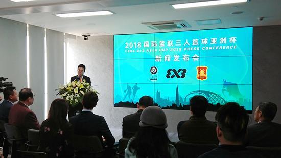中国篮协三人篮球部部长柴文胜出席发布会