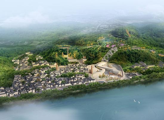 笔架山潮州窑考古遗址公园规划全景鸟瞰图