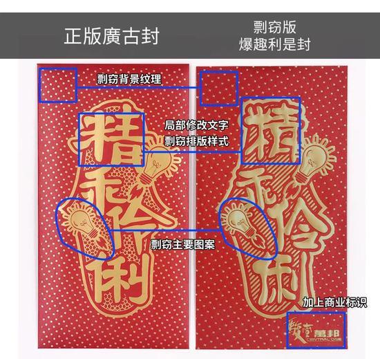 """""""廣古封""""与商场使用的利是封的部分对比(图片提供:羊城网)"""