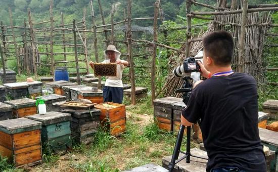 内蒙古师范大学校媒记者陈宇飞拍摄窑上村贫困户养蜂。内蒙古师范大学杭盖/摄