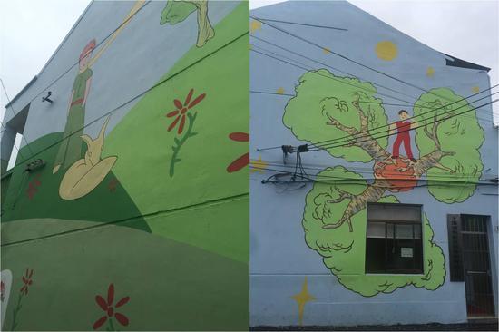 """彩绘l学校外墙上象征着""""希望与爱""""的小王子墙画"""