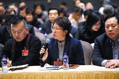 1月15日,市政协委员彭丽红在专题座谈会上发言。新京报记者 王贵彬 摄