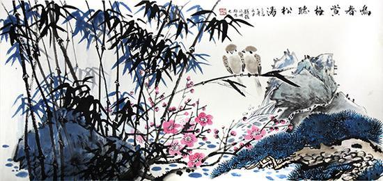 赵磊作品 《鸣春赏梅听松涛》规格:137cmx68cm