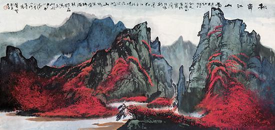 赵磊作品 《秋霁江山图》规格:200cmx100cm