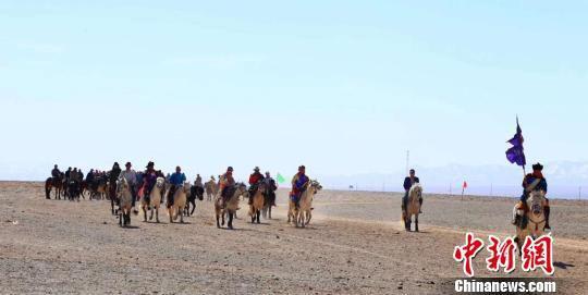 图为参赛选手身着蒙古族服饰,展示赛马。孟根朝力摄