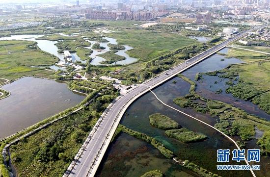 图为7月28日无人机拍摄的甘肃省张掖国家湿地公园美丽风光。