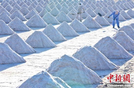 眼下又进入原盐开铲忙碌时节,甘肃张掖市高台县一座座的盐坨远远望去像一座座白色小山。王将 摄