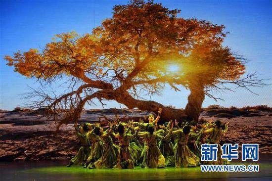 12月18日,在兰州音乐厅,西北民族大学演员表演舞蹈《胡杨赞》。新华社记者 范培珅 摄