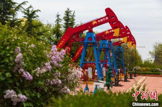 """""""开发一片、保护一片、绿化一片"""",长庆油田采油二厂在黄土高原上建成的""""花园式井站""""。"""