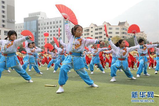 11月4日,兰州市宁兴小学学生在活动现场表演武术操。新华社记者 张智敏 摄