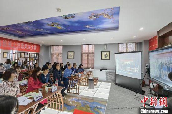 4月8日,西北师范大学国际文化交流学院开展2019级中华语言文化本科班汉语风采大赛。 刘玉桃 摄