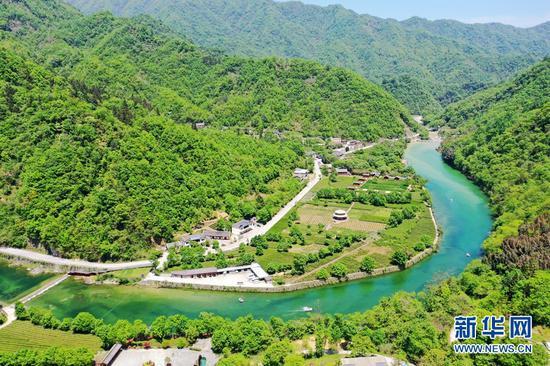 这是近日拍摄的甘肃省陇南市康县阳坝亚热带生态旅游风景区。立夏时节,阳坝山清水秀、气候湿润,茂盛的森林、清澈的河流与散落其间的民居构成一幅秀美画卷。新华网发(成林 摄)