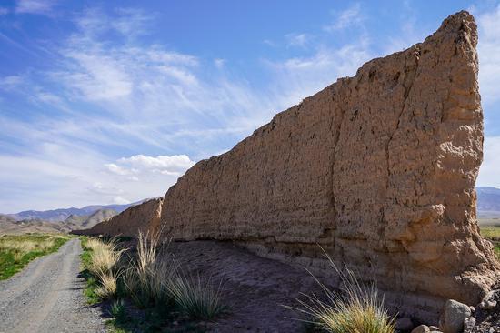 这是5月27日在甘肃省张掖市山丹县拍摄的一处明长城夯土墙。新华社记者 郎兵兵 摄