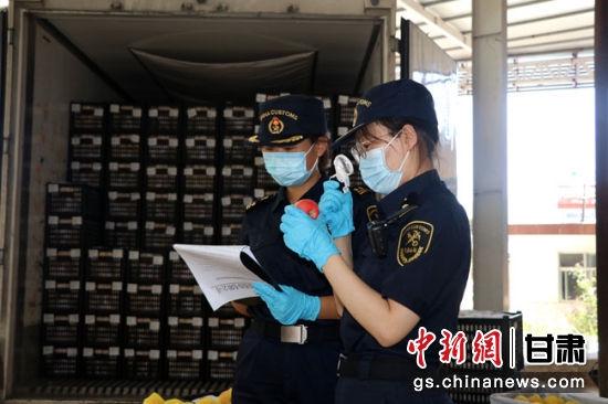 图为8月10日,兰州海关工作人员对出口产品进行监管。兰州海关供图