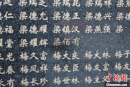 """图为刻有""""梁佰有""""名字的英明墙。 甘肃省退役军人事务厅供图"""