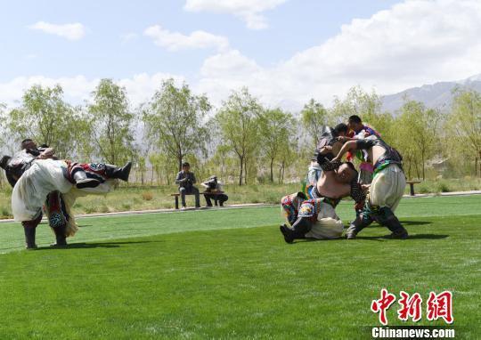 图为蒙古族搏克表演。 杨艳敏 摄