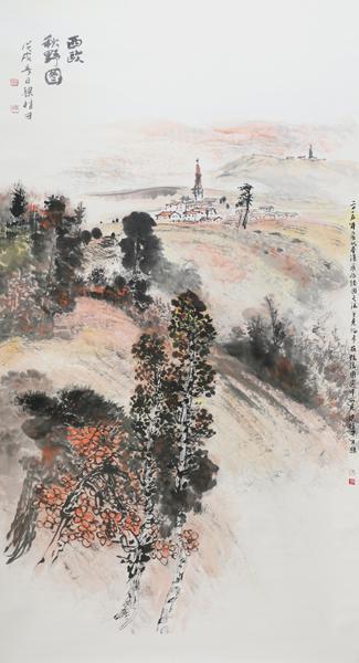 梁桂才作品《西欧秋野图》