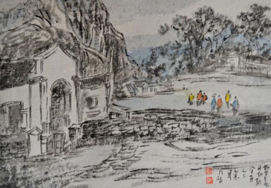 《斯里兰卡采风之丹布勒金寺》21cm×15cm创作时间2015年