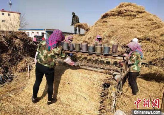 多年来,甘肃省靖远县王爱玲(左一)带领村民一起用稻草编织草帘,将手工产品变成致富产业。(资料图) 受访者供图