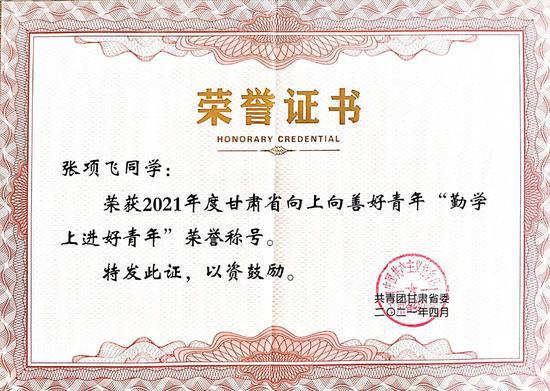"""兰州工业学院学子荣获2021年甘肃省""""向上向善好青年""""荣誉称"""
