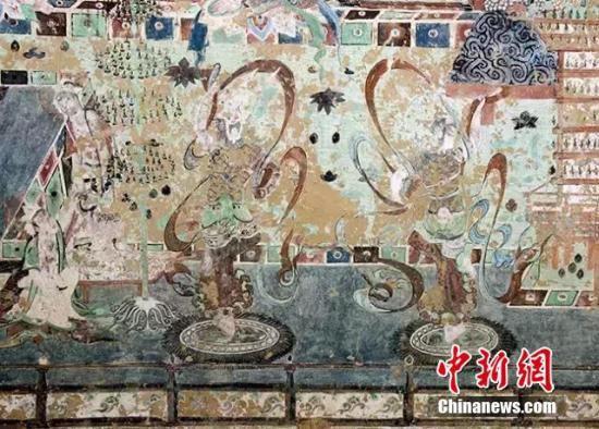 资料图:敦煌唐代壁画。敦煌研究院供图