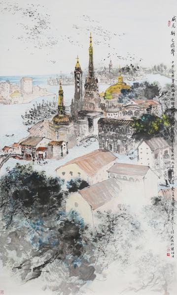 梁桂才作品《威尼斯之鸽声》