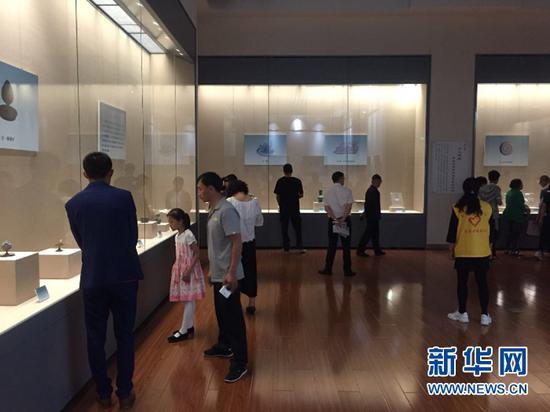 观众在欣赏金昌古代文明展上的文物。新华社记者 周啸天 摄