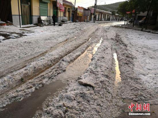 甘肃定西市通渭县遭遇冰雹天气。 何龙 摄