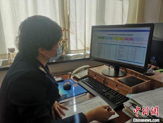 图为税务工作人员在大数据平台了解企业情况。 西固区税务局供图