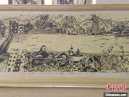 图为学生创作《黄河之滨也很美》部分内容展示。 刘玉桃 摄
