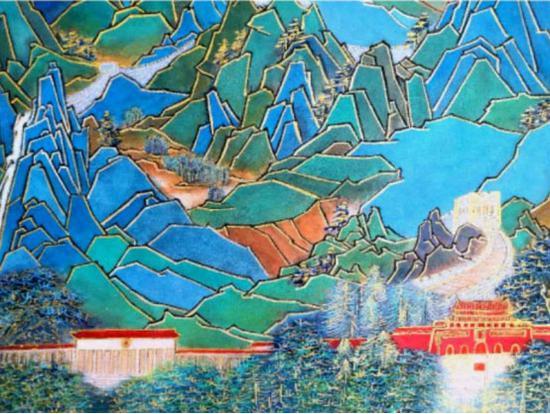 金碧彩绘《万里长城之京华之门》之局部二