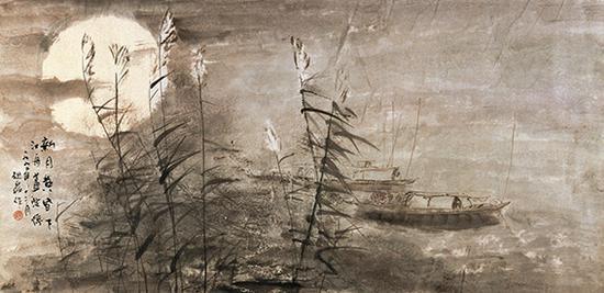 赵磊作品《新月黄昏下》规格:137cmx68cm