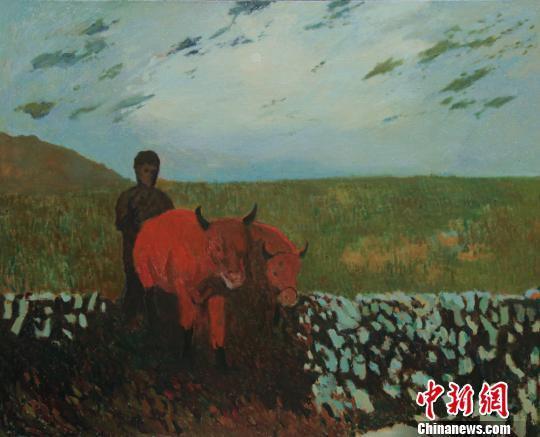 图为甘肃籍青年油画家牛浩东创作的《陇中印象》。 钟欣 摄