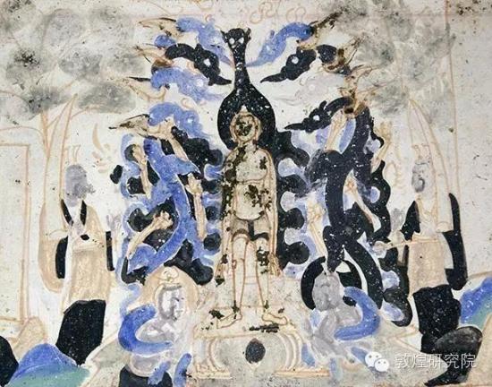 图为敦煌莫高窟北周第290窟,描绘着龙神为刚出生的悉达多太子沐浴灌顶的画面。 敦煌研究院 供图