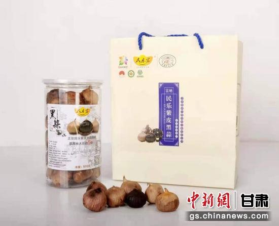 图为吴得迁带头生产的民乐紫皮黑蒜。受访者供图