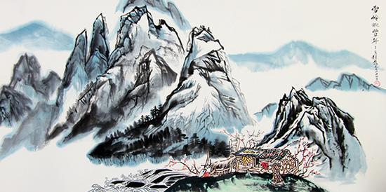 赵磊作品 《雪岭眺丰年》规格:137cmx68cm