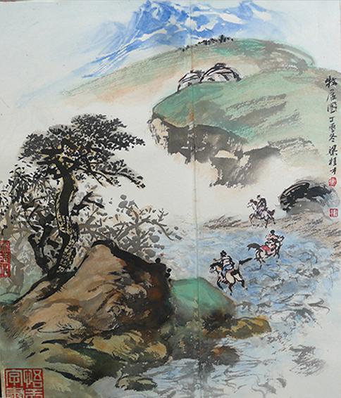 梁桂才作品 《牧居图》