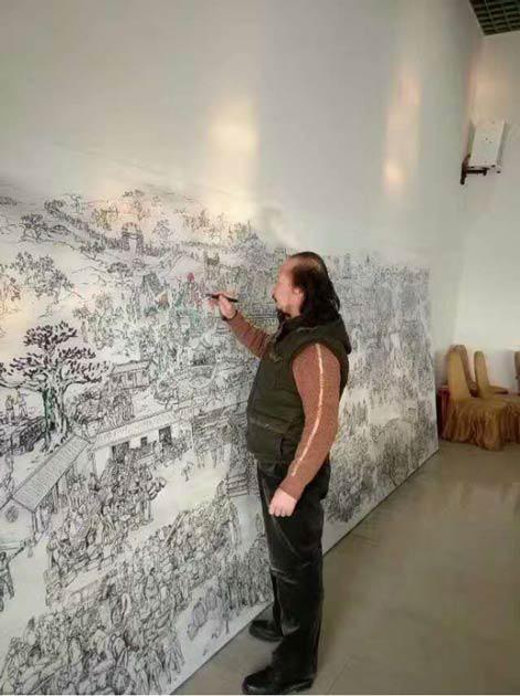 巴特尔·林甲2017年在河北邢台市绿岭创作《绿岭核桃大丰收》现场